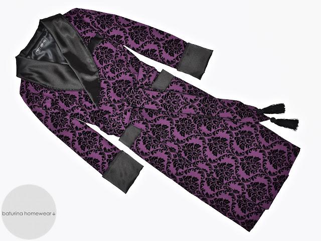 mens purple paisley silk dressing gown robe smoking jacket long lined warm