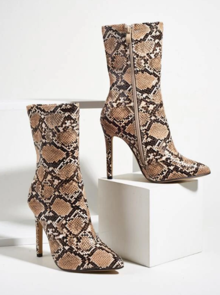 Brown and White snakeskin ankle boots