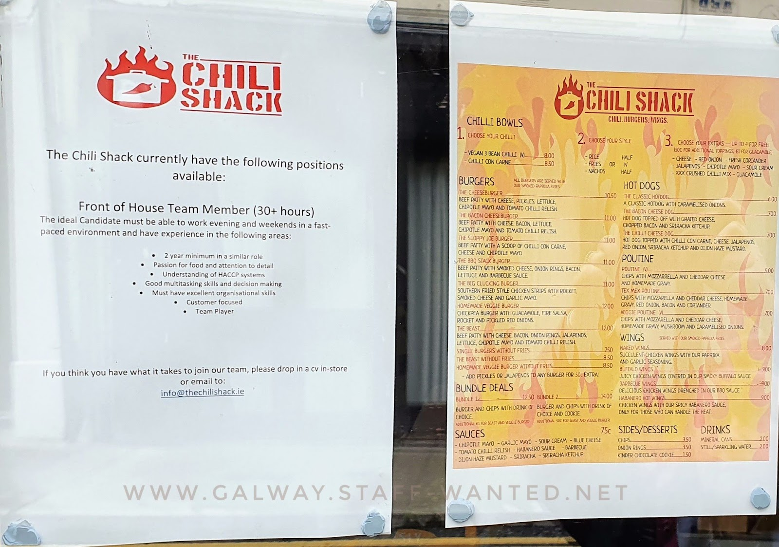 Job advert and full Chilli-shack takeaway menu
