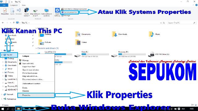 Buka windows Explorer Klik Kanan This PC Pilih Properties
