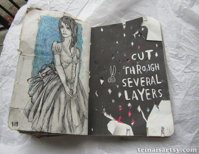 Wreck this Journal - Cut through several layers