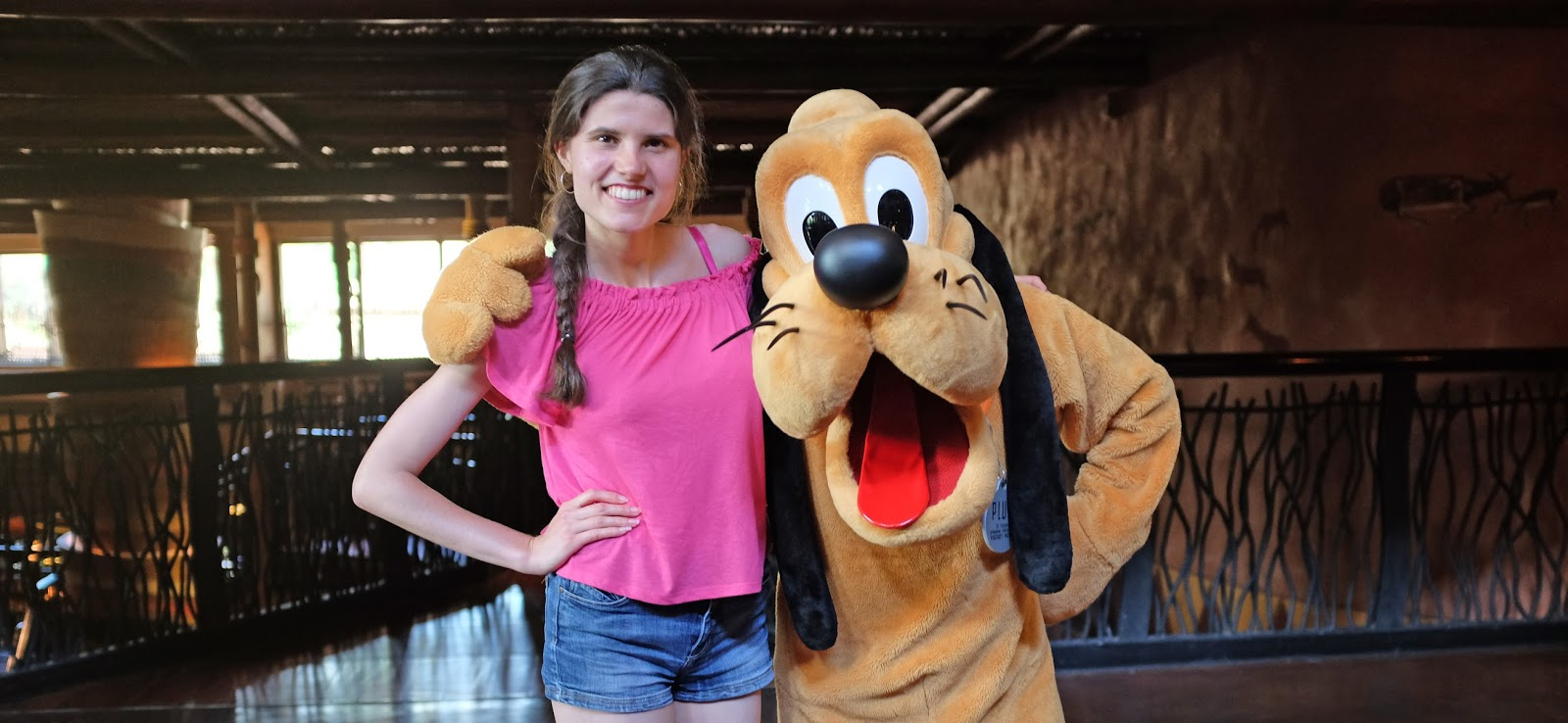 Meeting characters in the Animal Kingdom Lodge lobby