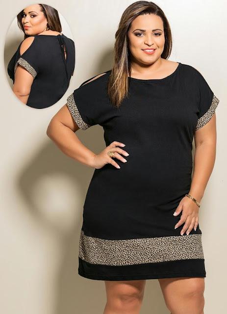 Vestido Preto com Estampa de Onça Plus Size