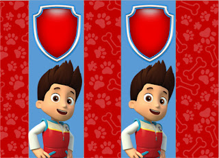Etiquetas de Paw Patrol en Azul y Rojo para imprimir gratis.