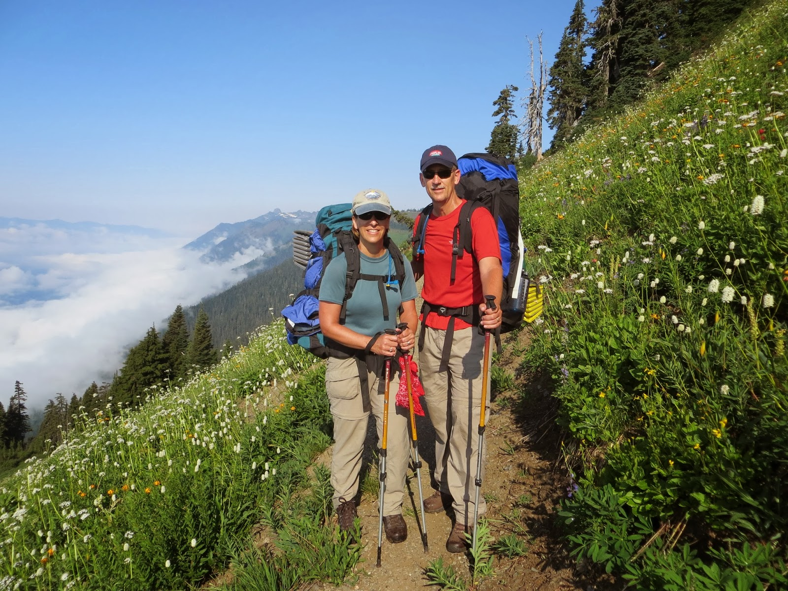 b69b6bf1f52c Backpacking trip clients enjoying sunshine and wildflowers on the North  Cascades trip.