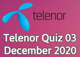 Telenor Answers 3 December 2020 || 3 December Telenor Quiz