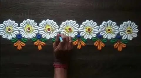 white flower rangoli designs for borders
