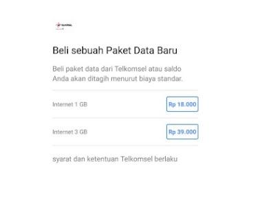 Beli Sebuah Paket Data Baru