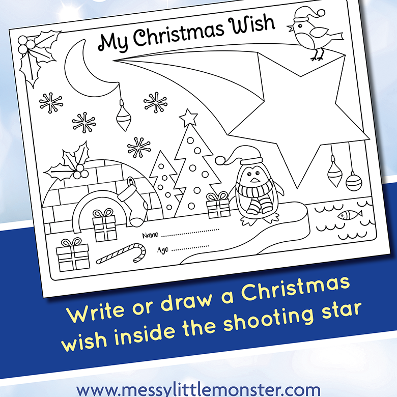 Christmas wish activity page free printable