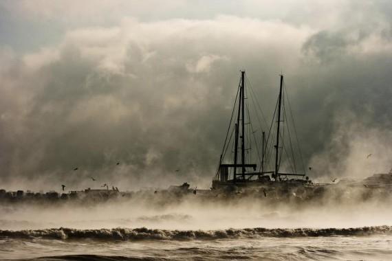 Steaming black sea