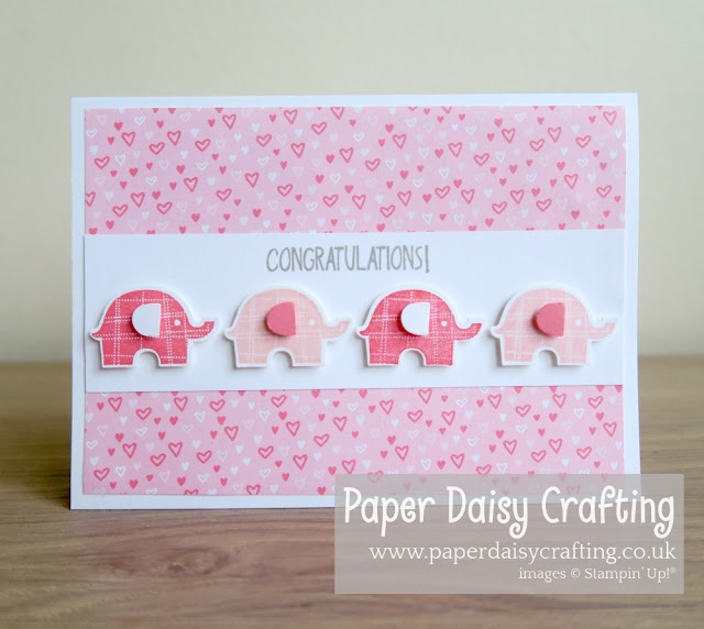 New baby girl card - Little Elephant - Stampin' Up!