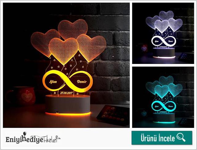 Sonsuz Aşkımız 3D Led Gece Lambası