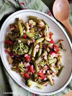 Verduras salteadas con jamón