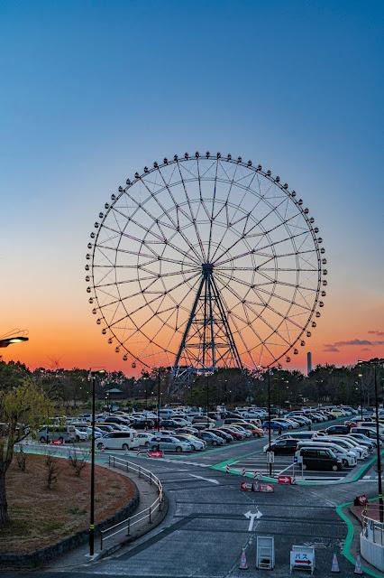日の丸,観覧車,葛西臨海公園,夕陽