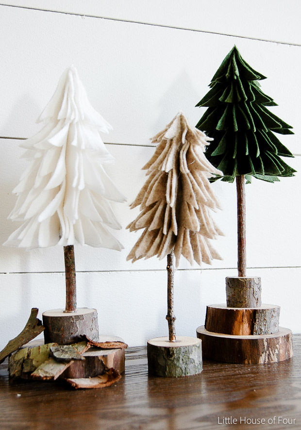Finished rustic felt trees