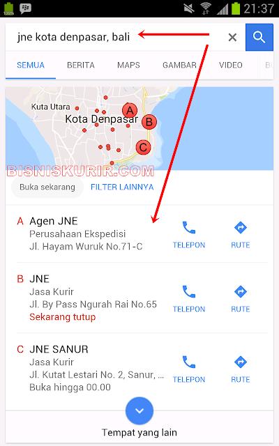 Cari agen JNE terdekat via situs Google.co.id