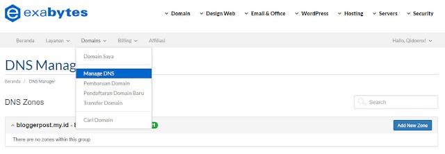 Cara Kustom Domain Exabytes ke Blogspot