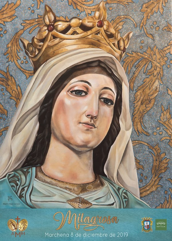 Cartel para la procesión de la Virgen de La Milagrosa de Marchena