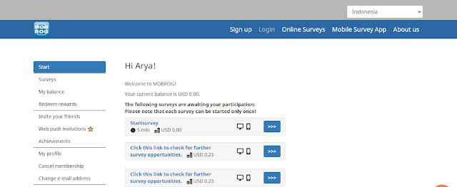 cara mendapatkan uang dari internet dengan mengikuti survey online