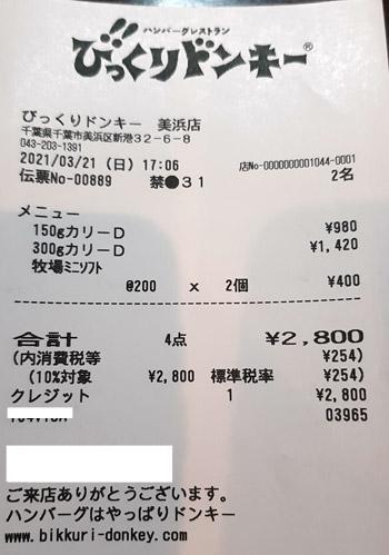 びっくりドンキー 美浜店 2021/3/21 飲食のレシート