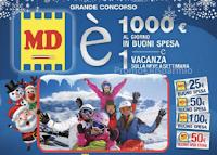 Logo Grande Concorso MD :  vinci ogni giorno 1.000€ in buoni spesa e 1 vacanza sulla neve a settimana