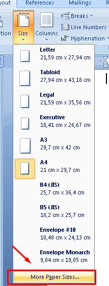 ukuran kertas f4 ms word