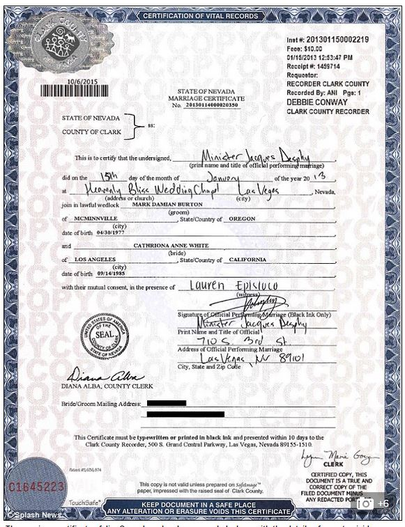 Cathriona White S Marriage Certificate Reveals She Was Married In Las Vegas On January