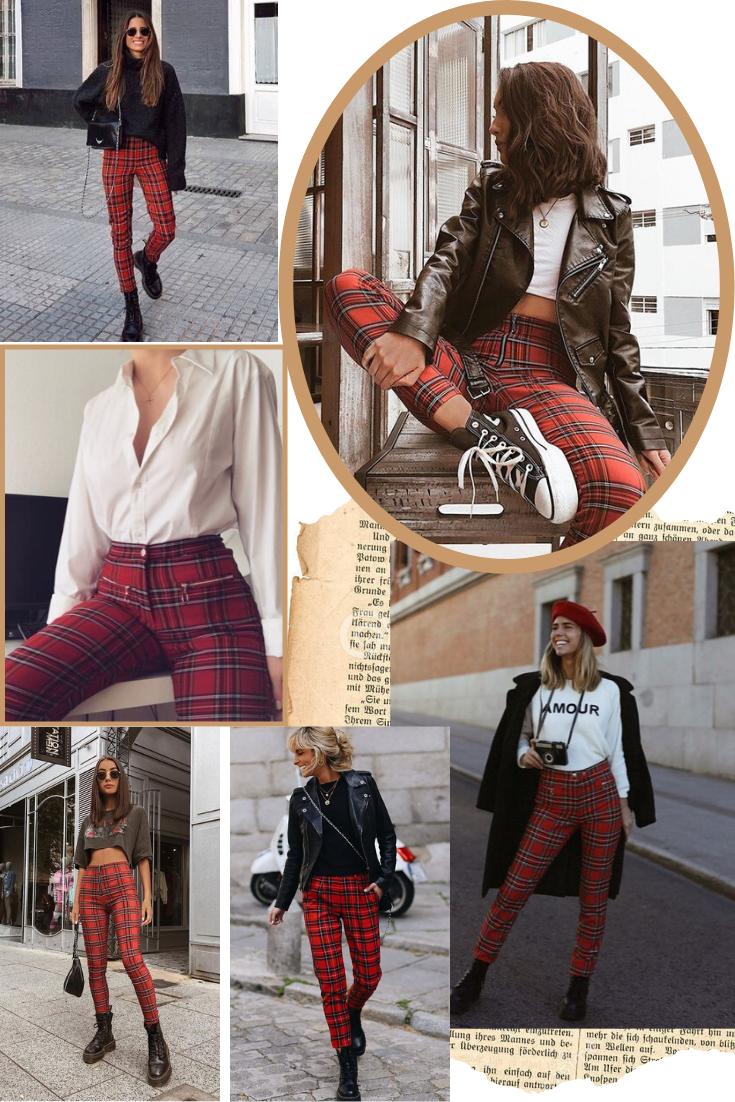 Inspirações de Outfits com Calças Vermelhas ao Xadrez