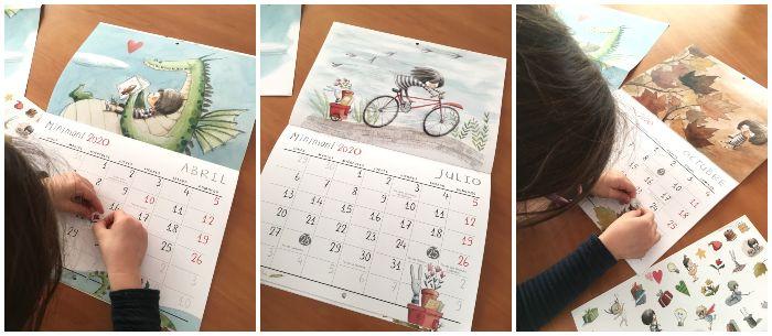 calendario 2020 personaje Minimoni de Rocio Bonilla con pegatinas y póster