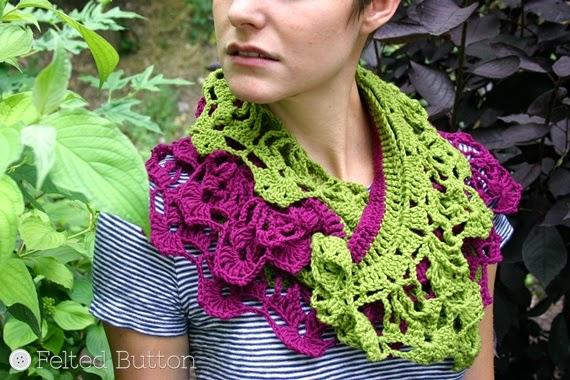 Garden Terrace Infinity Scarf crochet pattern by Susan Carlson of Felted Button