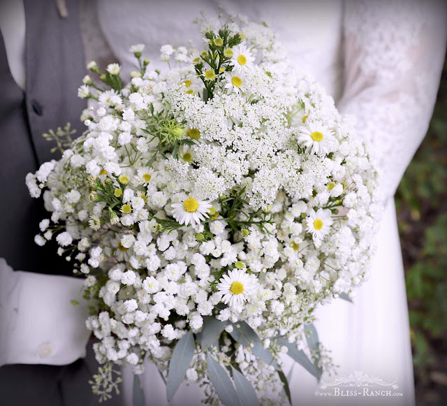 Simple babys breath and white flower wedding bouquet, Bliss-Ranch.com