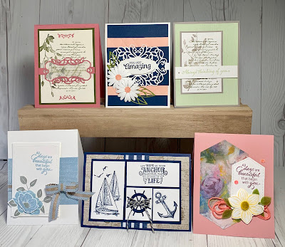 Craft and Laugh August 4, 2019 making these 6 cards in card class