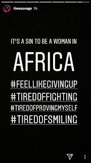Tiwa Savage shares cryptic post on Instagram
