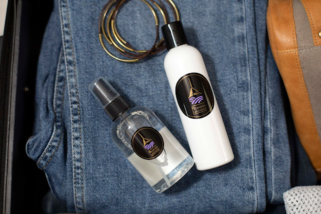 Travel with Pelindaba's Lavender Linen Water and Lavender Lotion