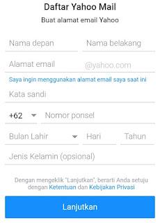 Form pendaftaran - Cara  Membuat Akun Email Baru Di Yahoo Mail