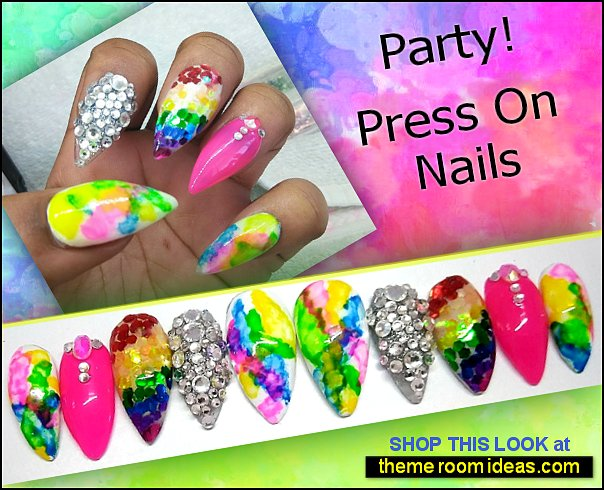 Party Press On Nails summer nails colorful nail designs colorful nails decorating nails