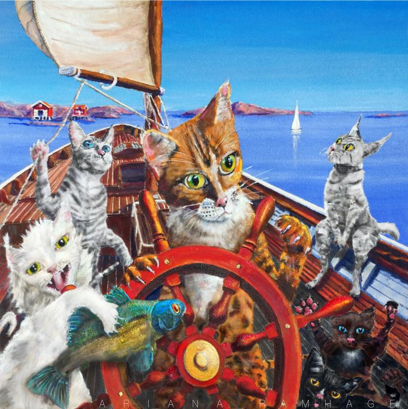 Katter av alla kattraser som seglar ute på havet
