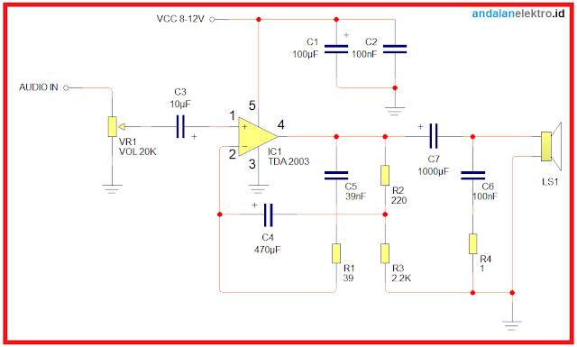 Skema rangkaian amplifier 10 watt TDA 2003 mono sederhana