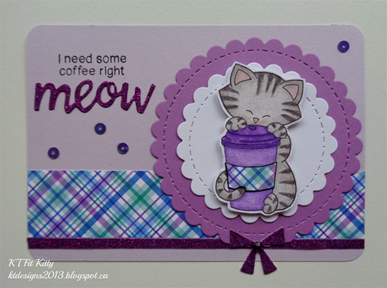 Inky Paws Challenge #37 | Plaid Cat and Coffee Card by KT Fit Kitty | Newton Loves Coffee  Stamp set by Newton's Nook Designs #newtonsnook