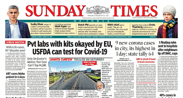 Sunday Times Of  India Epaper 22nd  March 2020