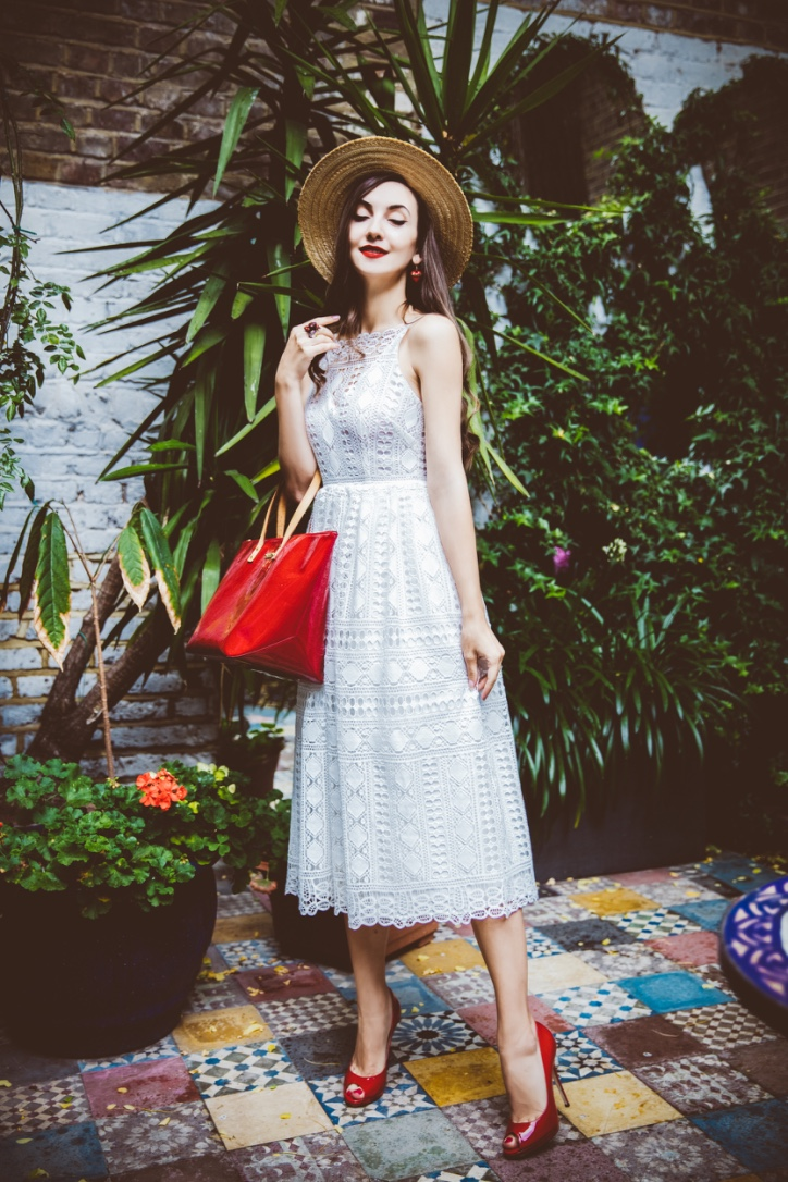 crochet lace white dress, street style london