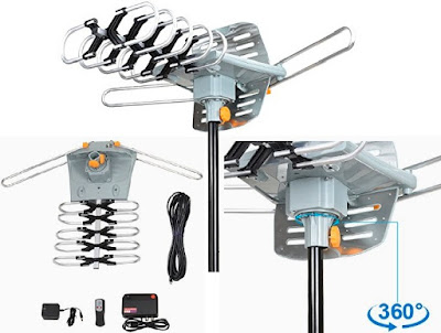 360° Rotation HDTV Digital Outdoor Antenna with Wireless Remote - SKYTV