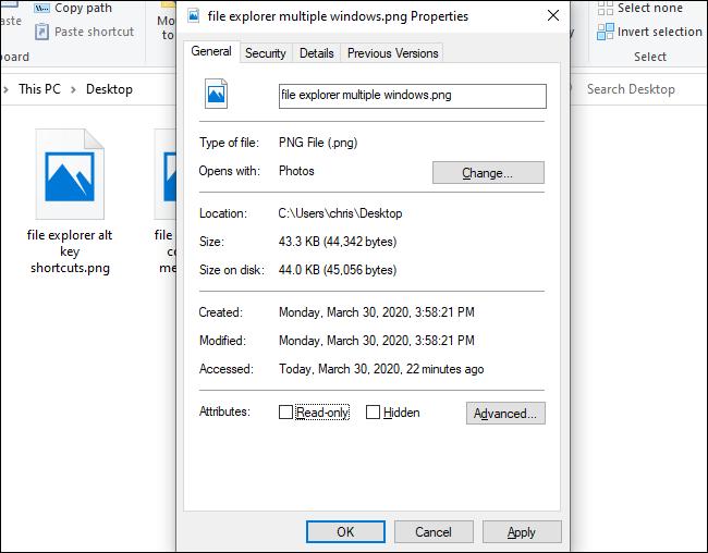 نافذة الخصائص في File Explorer.
