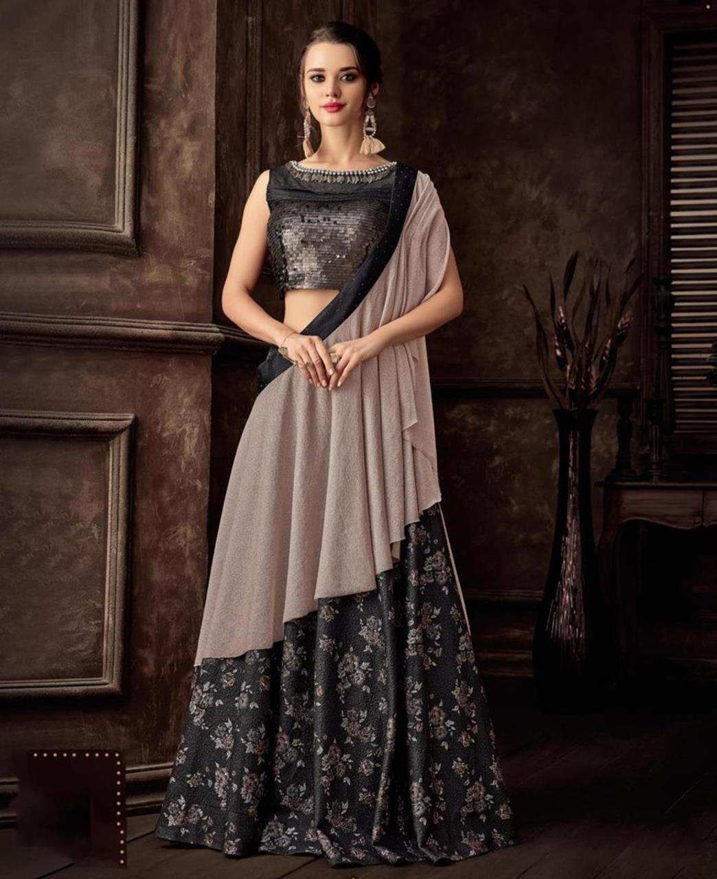 Black and beige lehenga saree for wedding
