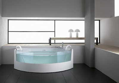 Black Floor Tile With Glass Window and White bathtub and lamp