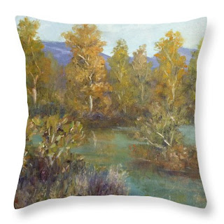Nature Throw Pillow Rustic and River Greens and Golds