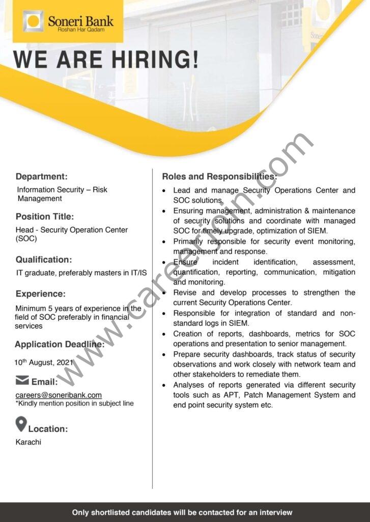 Soneri Bank Ltd Jobs August 2021