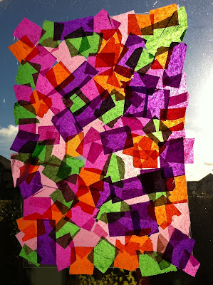 stained glass window made from contact and tissue paper
