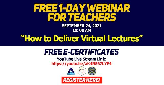FREE 1-DAY WEBINAR FOR TEACHERS   September 24, 2021 10:00 AM   FUSE-PNU-FilSciHub