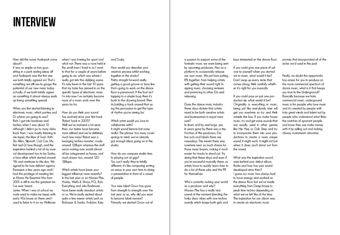 Design Practice Year 3: Audiojack // Interview Layouts